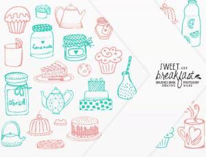 小清新卡通厨房食品手绘涂鸦图形PS美图笔刷