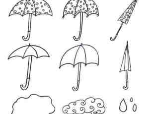 手绘卡通小雨伞Photoshop笔刷素材
