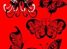 漂亮的蝴蝶花纹、纹身纹饰图案Photoshop笔刷