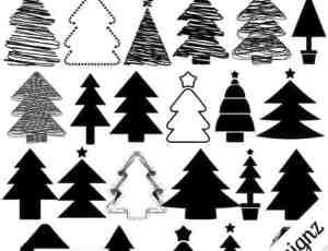 手绘卡通涂鸦圣诞树Photoshop小树笔刷