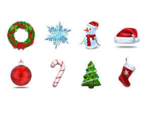 免费精致靓丽的圣诞节图标图案PSD素材下载