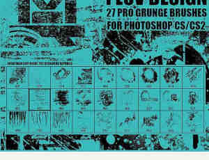 27种颓废残旧印刷痕迹Photoshop笔刷素材