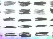 25种油漆刷子笔触效果Photoshop笔刷下载