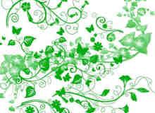 常青藤式植物花纹图案Photoshop笔刷素材