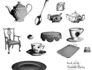 餐具、椅子、杯子、餐盘、茶壶、勺子、盘子Photoshop笔刷