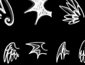卡通可爱手绘涂鸦翅膀、天使翅膀Photoshop笔刷