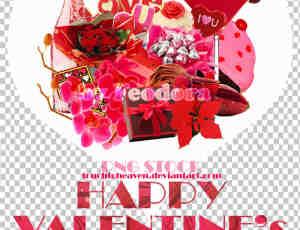 情人节巧克力、酒瓶、礼物等美图秀秀饰品素材包下载
