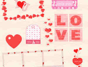情人节爱心元素之美图秀秀照片美化素材下载