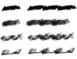 4种不同笔触叉叉划痕PS笔刷