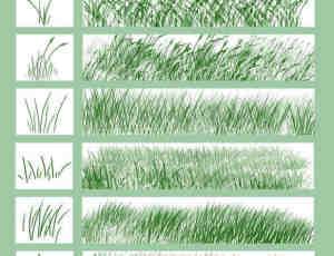 各式各样的青草、草丛效果PS画笔笔刷
