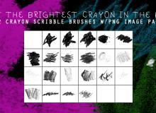 22种高清粉笔、蜡笔笔触涂抹痕迹效果PS笔刷下载