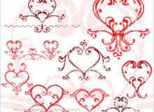 花式爱心符号图案PS笔刷素材