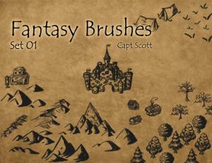 城堡、营地、山脉、树林等手绘涂鸦Photoshop笔刷