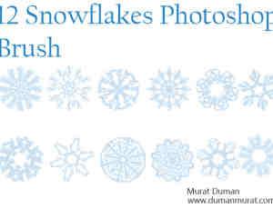 12种罗盘式雪花花纹图案、剪纸窗花PS笔刷素材