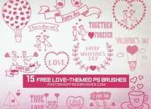 15种情人节、婚礼之可爱的童趣涂鸦PS笔刷
