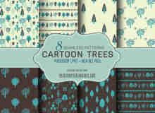 8种可爱小清新风格小树植物背景Photoshop填充图案底纹素材.pat