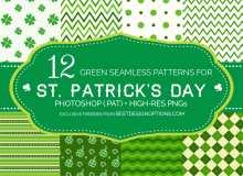 可无缝拼接!12种小清新绿色花纹系列PS背景填充素材.pat下载