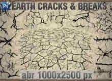 干涸的地面纹理、干旱开裂的地表Photoshop笔刷
