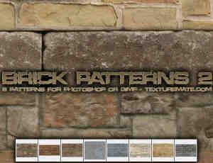 8种水泥墙砖、墙面纹理Photoshop填充图案底纹素材 Patterns 下载