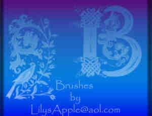 植物艺术花纹边框、花纹纹饰Photoshop笔刷