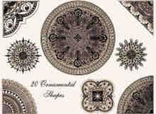 古典民粹艺术针织地毯型花纹、印花图案Photoshop笔刷