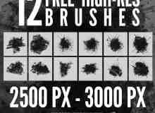 12种超高分辨率油漆、油墨、水墨喷溅痕迹PS笔刷