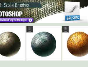 3种鱼鳞皮肤、鳞片纹理、皮肤材质Photoshop笔刷素材