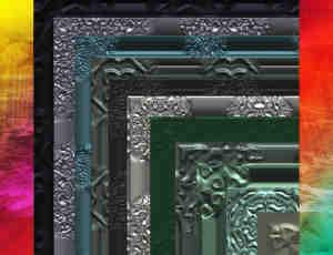20种金属材质画框、相框、浮雕边框Photoshop笔刷素材