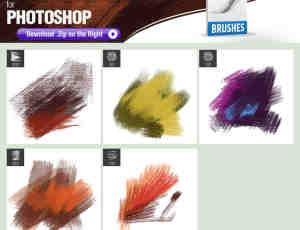 5种油漆涂抹帆布纹理效果Photoshop笔刷下载