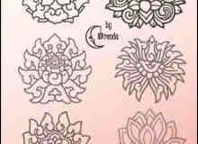秀美的莲花图案艺术印花Photoshop笔刷素材