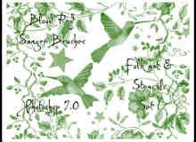 植物花纹、小鸟图案装饰Photoshop笔刷