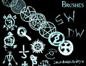 手绘魔法五星图案、怪异符号Photoshop笔刷素材