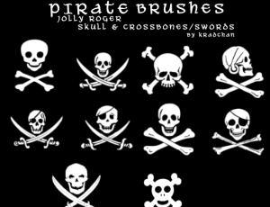 海盗骷髅头图案Photoshop笔刷