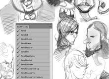 两个铅笔Photoshop工具预设.tpl笔刷素材包下载