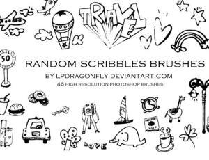 可爱童趣涂鸦图形PS笔刷素材
