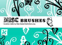 漂亮的植物蝴蝶艺术花纹、印花饰品PS笔刷下载