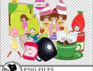 可爱的甜品小姐PNG透明美图照片素材