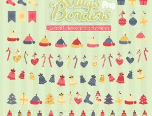 可爱圣诞节卡通帽子、拐杖、彩灯、铃铛、雪人等装饰PS笔刷