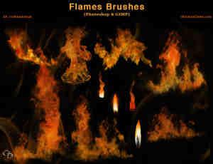 真实的火苗、火焰效果Photoshop笔刷素材