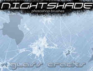碎玻璃、玻璃裂纹、玻璃弹孔PS笔刷