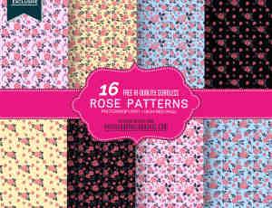 16 玫瑰花纹、印花图案PS填充素材下载(可以无缝拼接!)