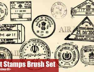 世界各地的信件邮戳Photoshop笔刷素材