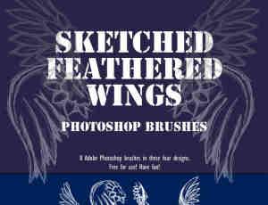 8种手绘涂鸦天使翅膀Photoshop笔刷下载