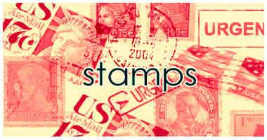 信封上的美国邮票图形Photoshop笔刷素材