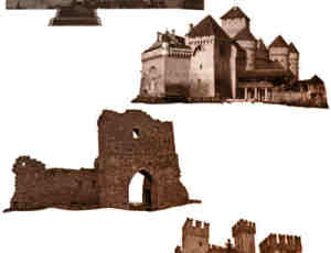 4个欧洲中世纪城堡造型Photoshop笔刷素材