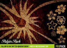 夏威夷风格印花、花朵图案Photoshop花纹印记笔刷
