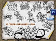 精美漂亮的手绘鲜花图案Photoshop花纹笔刷