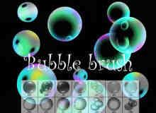 七彩肥皂泡泡、水泡、气泡Photoshop笔刷素材