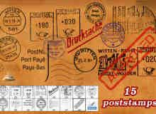 世界各地邮戳图案PS笔刷