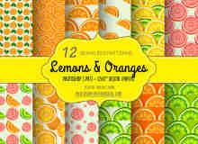 12种夏日鲜果橙图案Photoshop填充图案底纹素材 .pat 下载